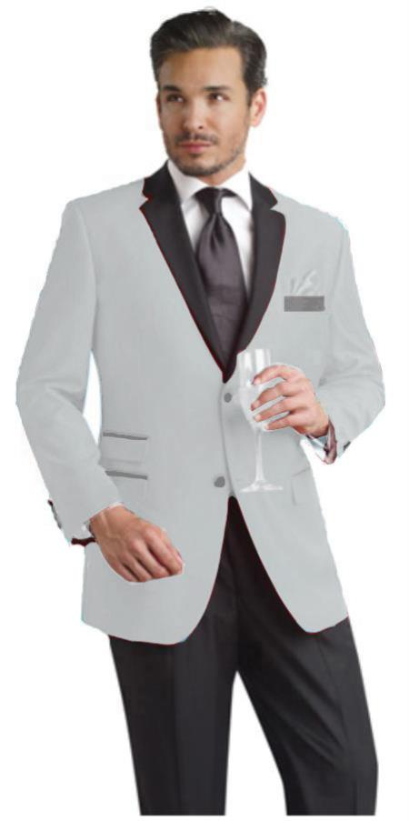 SKU#XC212 Silver Gray Two Button Notch Party Suit & Tuxedo & Blazer w/ Black Lapel $595