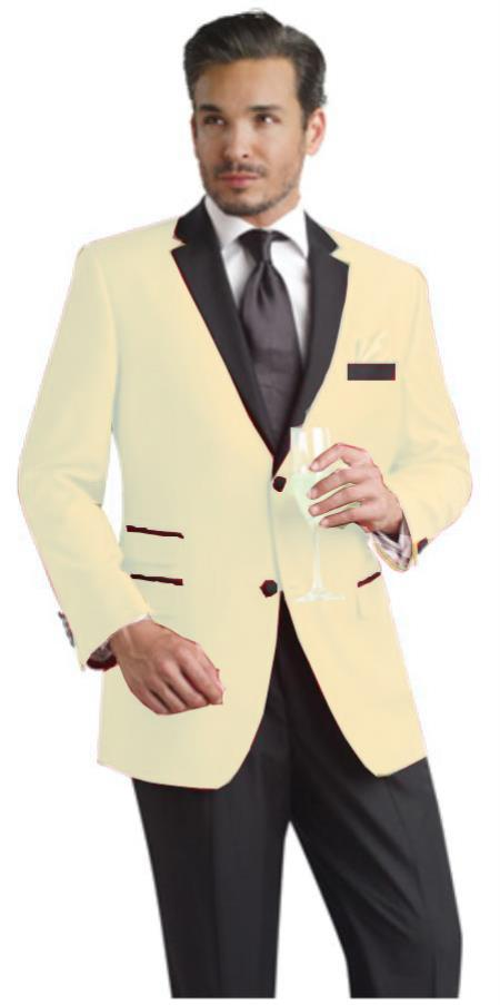 SKU#XBT42 Cream Two Button Notch Party Suit & Tuxedo & Blazer w/ Black Lapel $595