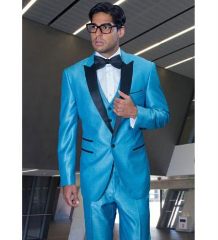 SKU#FDC99 turquoise ~ Light Blue Colored Two Button Notch Party Suit & Tuxedo & Blazer w/ Black Lapel $595