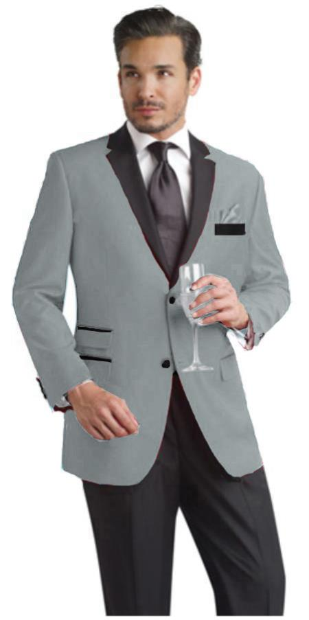 SKU#EDK3 Dark Gray Two Button Notch Party Suit & Tuxedo & Blazer w/ Black Lapel $595