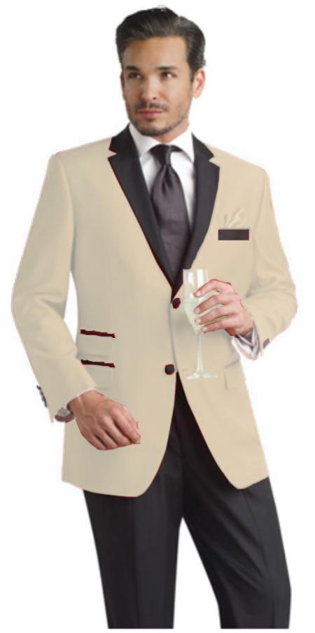 SKU#WEB2 Beige ~ Tan Two Button Notch Party Suit & Tuxedo & Blazer w/ Black Lapel $595
