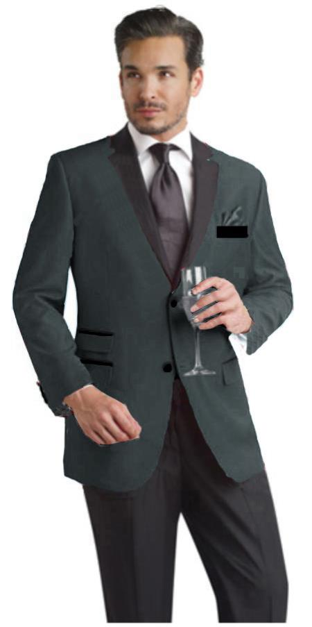 SKU#GBH290 Charcoal Gray Two Button Notch Party Suit & Tuxedo & Blazer w/ Black Lapel $595