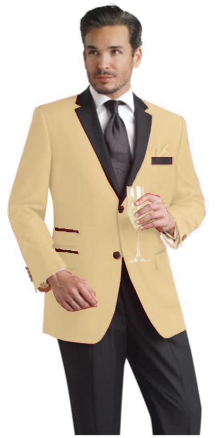 SKU#SND01 Sand Tan ~ Beige Beige Two Button Notch Party Suit & Tuxedo & Blazer w/ Black Lapel $595
