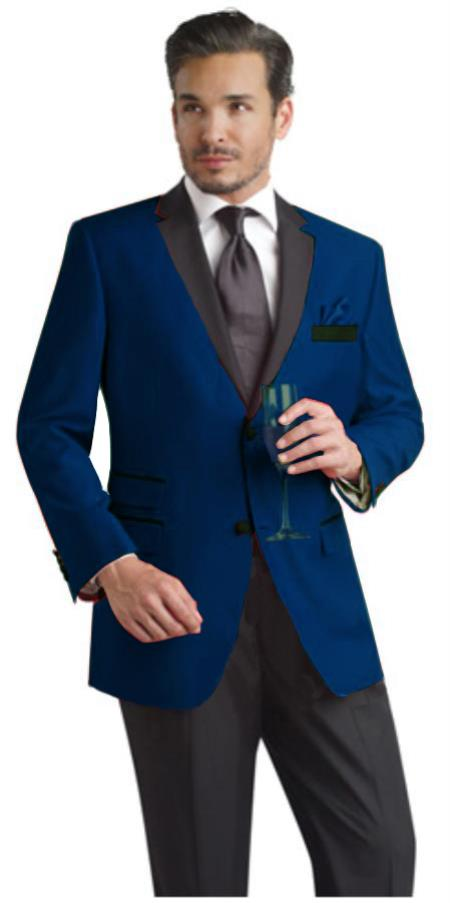 SKU#NVB199 Navy ~ Midnight blue Two Button Notch Party Suit & Tuxedo & Blazer w/ Black Lapel $199