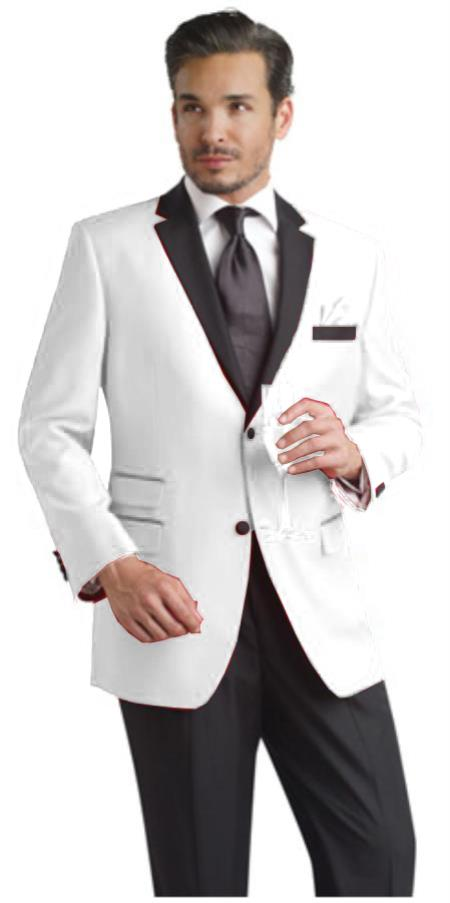 SKU#REQ2 White Two toned 2 Button Notch Party Suit & Tuxedo & Dinner Jacket Blazer W/ Black Lapel + Free Pant