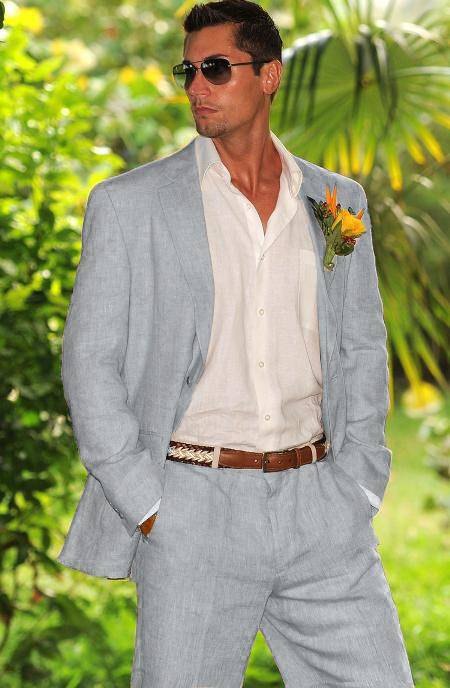 Men's Vintage Style Suits, Classic Suits Mens 1 Linen Suit in Light Gray $120.00 AT vintagedancer.com