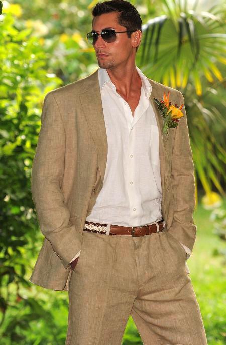 Sku 12639s36 Men S 1 Linen Suit In Tan From Mens Usa