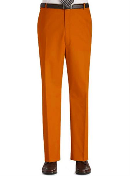 SKU#OPD1 Stage Party Pants Trousers Flat Front Regular Rise Slacks - Orange