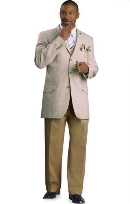 SKU#TAN6 Mens 3 Button Seersucker Suit Tan $175