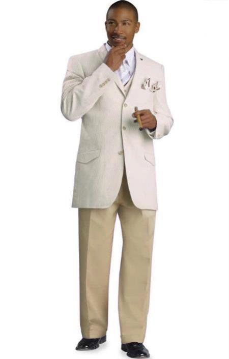 SKU#BGE5 Mens 3 Button Seersucker Suit Beige $175