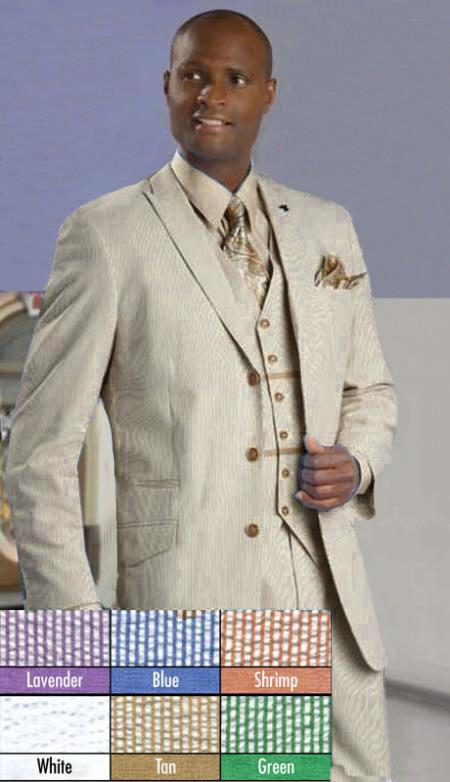 SKU#HK90 Mens Stylish 3 Button Tan Seersucker Suit $175