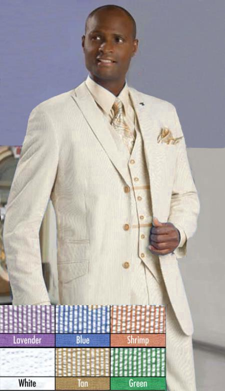 SKU#BKP91 Mens Stylish 3 Button Beige Seersucker Suit $175