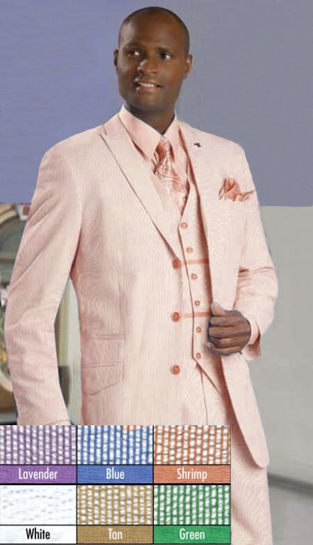 SKU#KH141 Mens Stylish 3 Button Shrimp Seersucker Suit $175