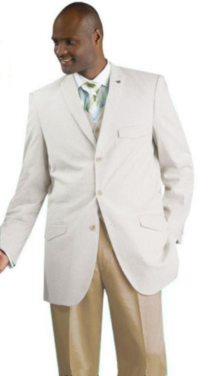 SKU#NAV23 Mens Vested Seersucker Suit Available in Beige Color $175