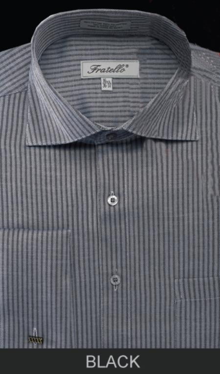 SKU#TY7S Mens French Cuff Dress Shirt - Classic Stripe Black $55