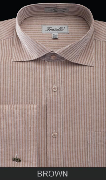 SKU#WY9E Mens French Cuff Dress Shirt - Classic Stripe Brown $39