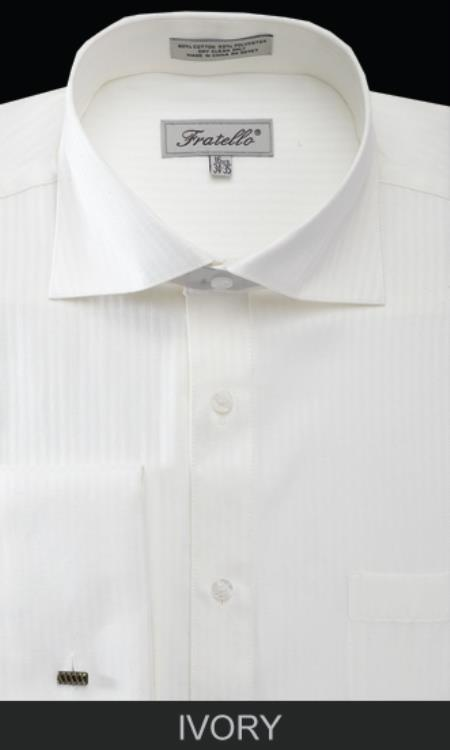 SKU#AL4X Mens French Cuff Dress Shirt - Classic Stripe Ivory $65