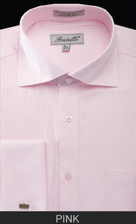 SKU#PSZ2 Mens French Cuff Dress Shirt - Classic Stripe Pink