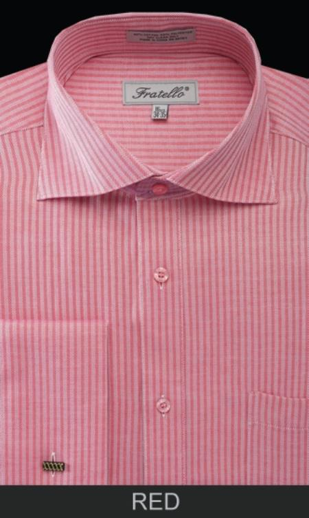 SKU#RD24 Mens French Cuff Dress Shirt - Classic Stripe Red