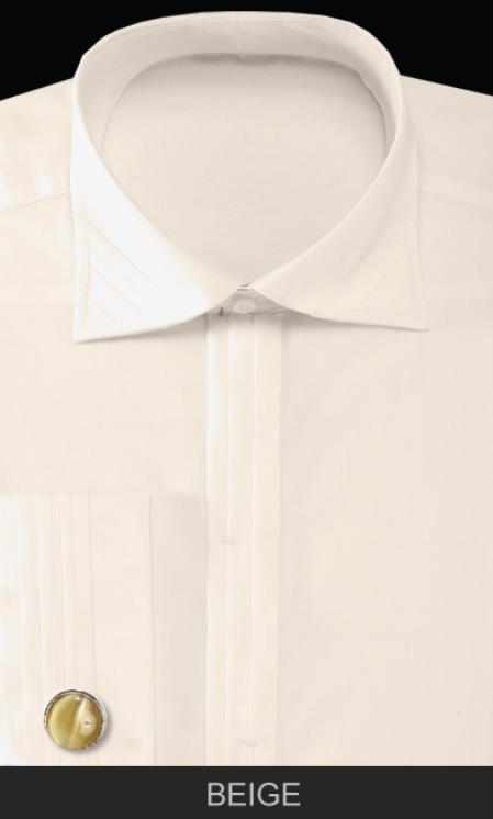 SKU#QA50 Mens French Cuff Dress Shirt with Cuff Links - Solid Pleated Collar Beige $55