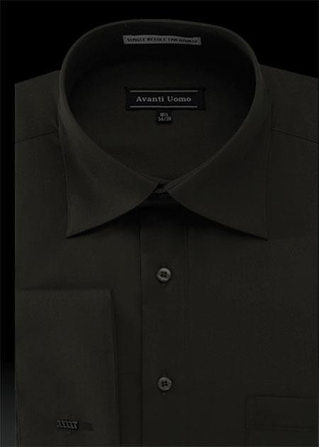 SKU#FG3C Mens French Cuff Dress Shirt with Cuff Links - Solid Pleated Collar Black