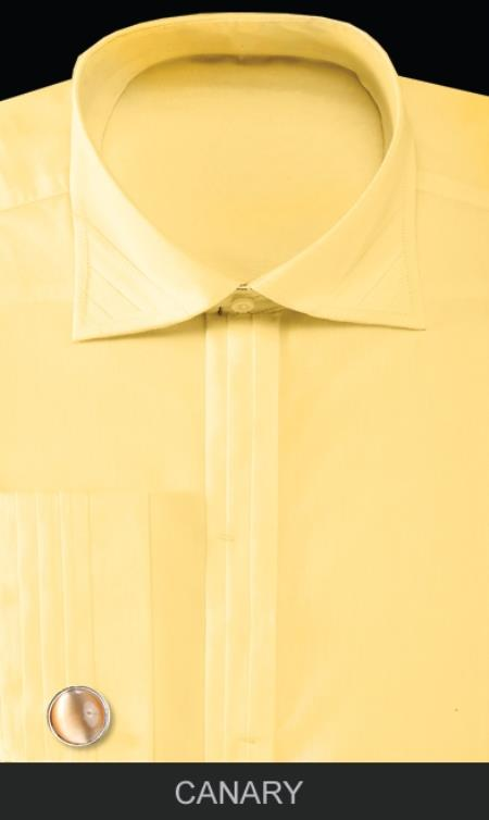 SKU#FBU31 Mens French Cuff Dress Shirt with Cuff Links - Solid Pleated Collar Canary $55