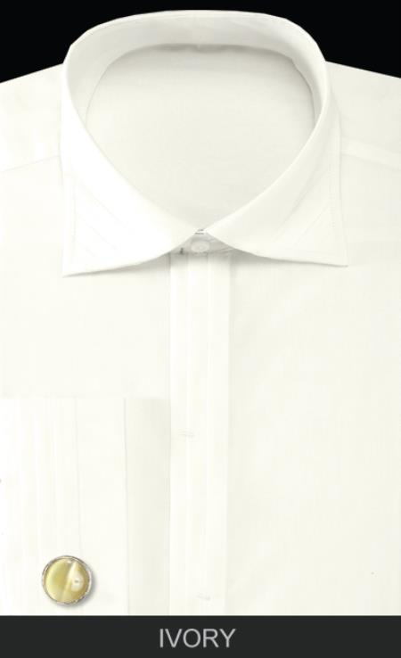 SKU#IVY6 Mens French Cuff Dress Shirt with Cuff Links - Solid Pleated Collar Ivory $65