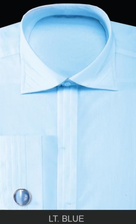 SKU#ANK9 Mens French Cuff Dress Shirt with Cuff Links - Solid Pleated Collar Light Blue