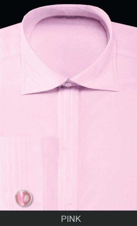 SKU#LH87F Mens French Cuff Dress Shirt with Cuff Links - Solid Pleated Collar Pink $55