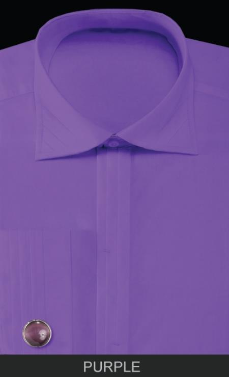 SKU#JHG3 Mens French Cuff Dress Shirt with Cuff Links - Solid Pleated Collar Purple