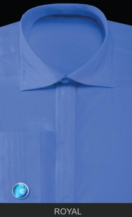SKU#QLP10 Mens French Cuff Dress Shirt with Cuff Links - Solid Pleated Collar Royal Blue $55