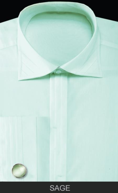 SKU#SNA34 Mens French Cuff Dress Shirt with Cuff Links - Solid Pleated Collar Sage $55