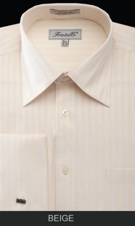 SKU#DAK72 Mens French Cuff Dress Shirt - Herringbone Tweed Stripe tan ~ beige $39