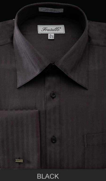 SKU#DGW31 Mens French Cuff Dress Shirt - Herringbone Stripe Black $55