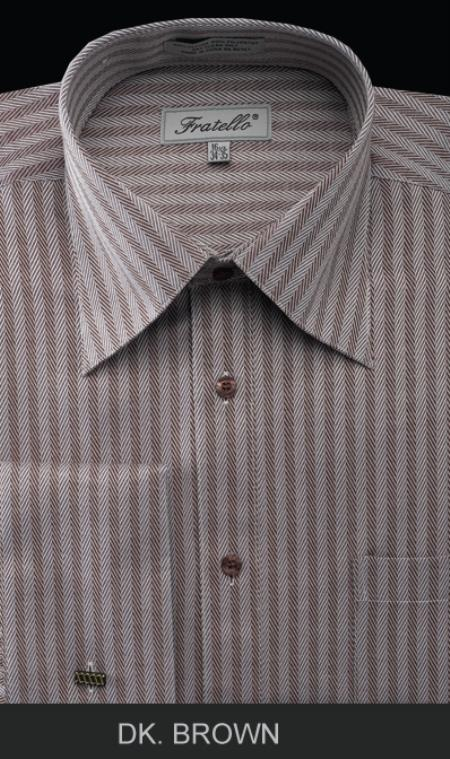 1930s Style Mens Shirts Mens French Cuff Dress Shirt Herringbone Stripe Dark Brown $39.00 AT vintagedancer.com