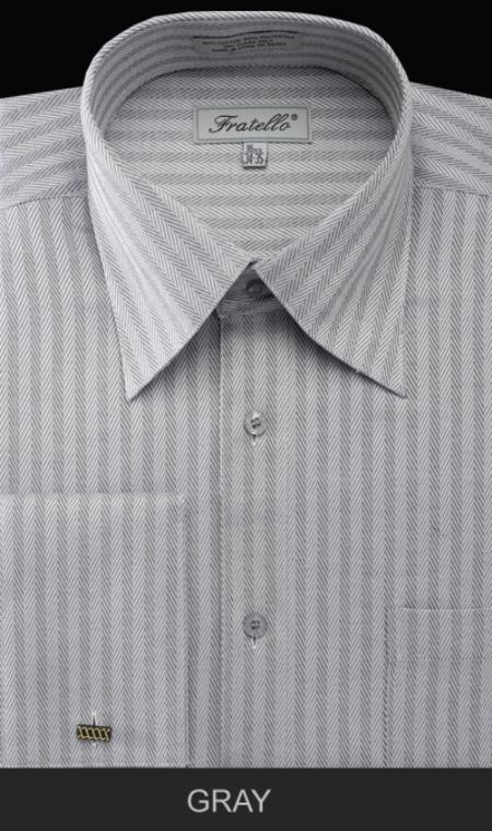 SKU#XZW42 Mens French Cuff Dress Shirt - Herringbone Stripe Gray $55