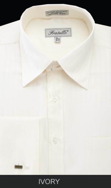 SKU#MAQ86 Mens French Cuff Dress Shirt - Herringbone Stripe Ivory $65