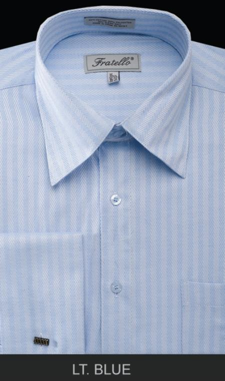 SKU#LT86 Mens French Cuff Dress Shirt - Herringbone Stripe Light Blue $55