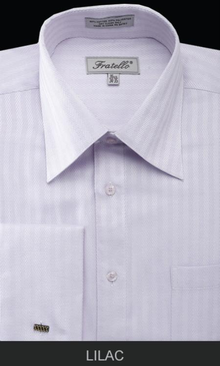 SKU#HAX73 Mens French Cuff Dress Shirt - Herringbone Tweed Stripe Lilac Lavender