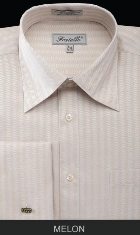 SKU#QD231 Mens French Cuff Dress Shirt - Herringbone Tweed Stripe Melon