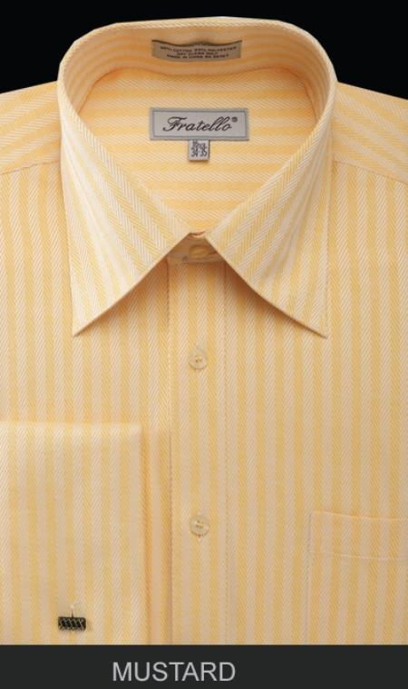 SKU#PKM54 Mens French Cuff Dress Shirt - Herringbone Tweed Stripe Mustard