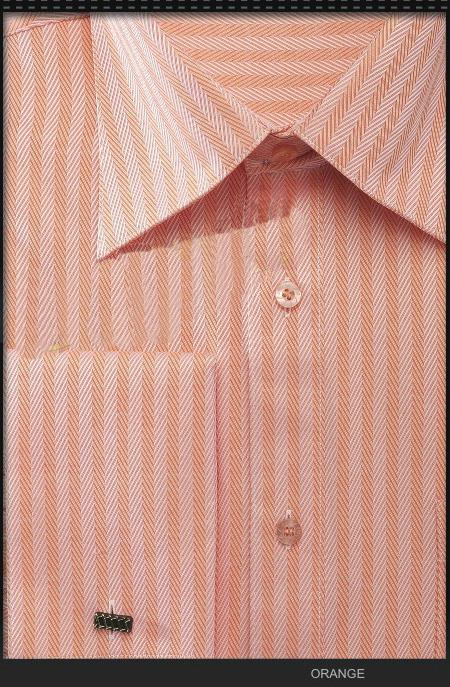 SKU#WVQ2 Mens French Cuff Dress Shirt - Herringbone Stripe Orange $55