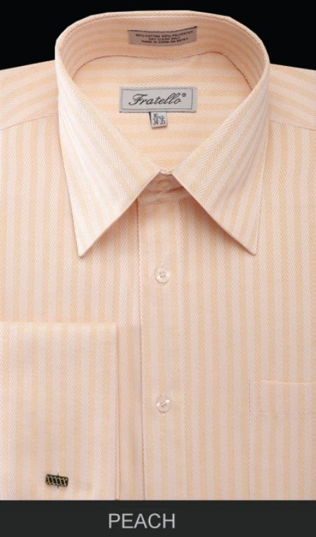SKU#PVM81 Mens French Cuff Dress Shirt - Herringbone Stripe Peach $55