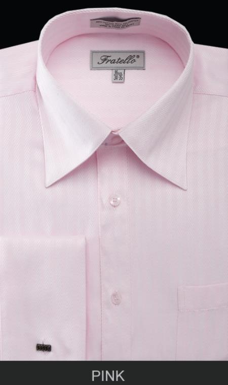 SKU#WHS29 Mens French Cuff Dress Shirt - Herringbone Stripe Pink $55