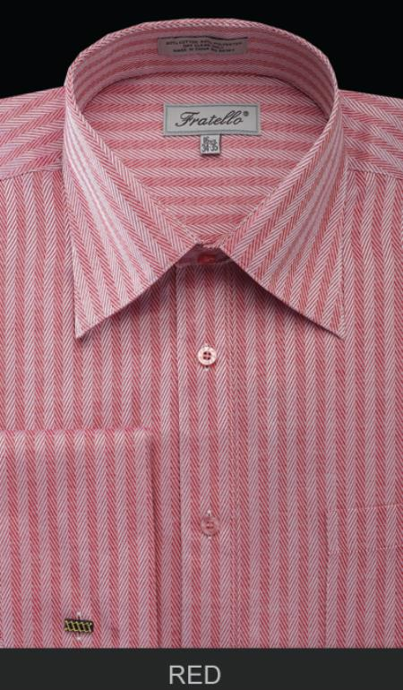 SKU#TND71 Men's French Cuff Dress Shirt - Herringbone Tweed Stripe Red