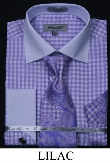 SKU#LIL5 Mens French Cuff Dress Shirt, Tie, Hanky and Cuff Links - Checker Two Tone Lilac $65