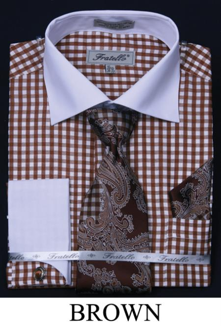 SKU#JMS53 Mens French Cuff Dress Shirt, Tie, Hanky and Cuff Links - Checker Two Tone Brown $65
