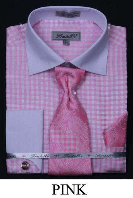 SKU#NPA82 Mens French Cuff Dress Shirt, Tie, Hanky and Cuff Links - Checker Two Tone Pink $65