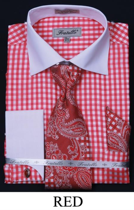 SKU#NJT81 Mens French Cuff Dress Shirt, Tie, Hanky and Cuff Links - Checker Two Tone Red $65