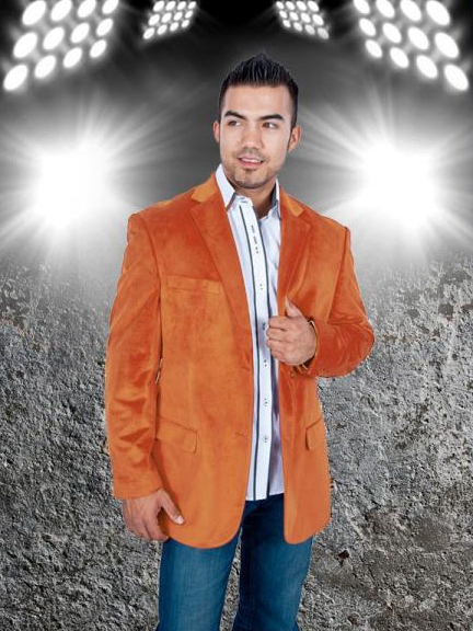 SKU#NAF9 Mens Stylish 2 Button Sport Jacket Orange Discounted Affordable Velvet ~ Velour Sport coat Blazer $139
